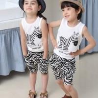 2014黑白斑马套装 夏季背心童套装  外贸童装 童套装