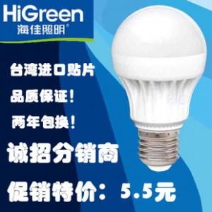 海佳 LED灯泡3W E27 大螺口室内照明玻璃节能灯泡 招分销