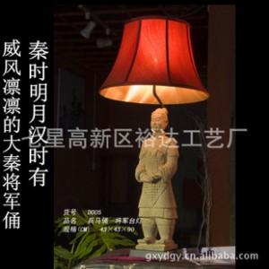 中式仿古工艺人物 兵马俑创意台灯 卧室客房照明节能灯D005