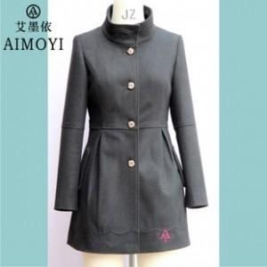 2014秋冬女装新款爆款 修身韩板单排扣 立领风衣 毛呢大衣