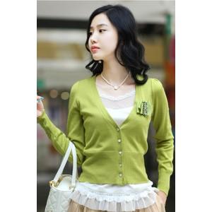 2013新款韩版女装泡泡袖短款百搭修身厂家直销批发毛衣外套