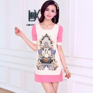2014新款夏装连衣裙 韩版修身民族图案女装 泡泡袖短袖连衣裙