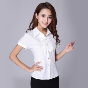 厂价直销 时尚职业女衬衫纯白色衬衫通勤衬衫彷雪纺衬衫免烫