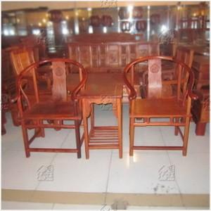 [红连地]缅甸花梨木圈椅 红木复古圈椅三件套 实木家用和收藏家具