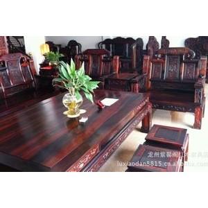 红木家具黑酸枝象鼻如意十件套沙发