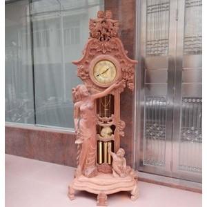 红木钟摆件 缅甸花梨实木雕刻 法国式钟 红木家具 纯手工生磨